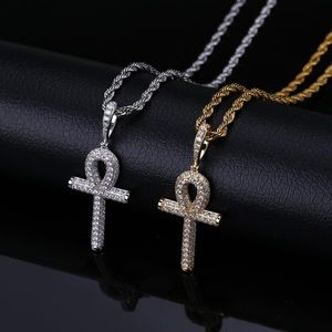 💎💎Iced Out 14k Ankh Cross Pendant Necklace 💎💎
